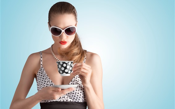 Wallpaper Fashion girl, glasses, cup, drink tea