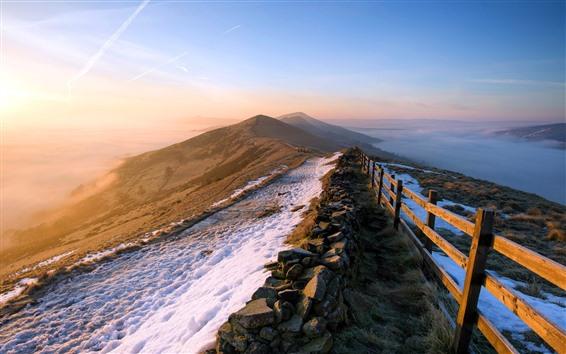 Обои Забор, горы, снег, вид сверху, восход, утро