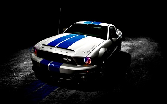 Wallpaper Ford Shelby Mustang car, night, headlight
