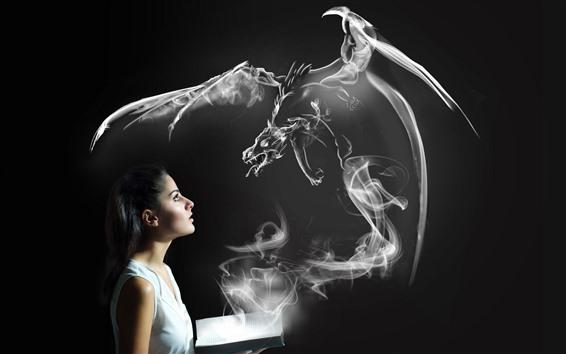 Wallpaper Girl and magic book, dragon