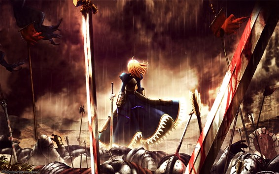 Wallpaper Girl in war, rain, sword, blood