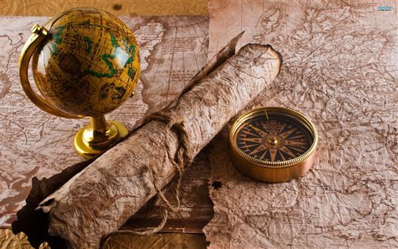 Обои Глобус, карта, компас