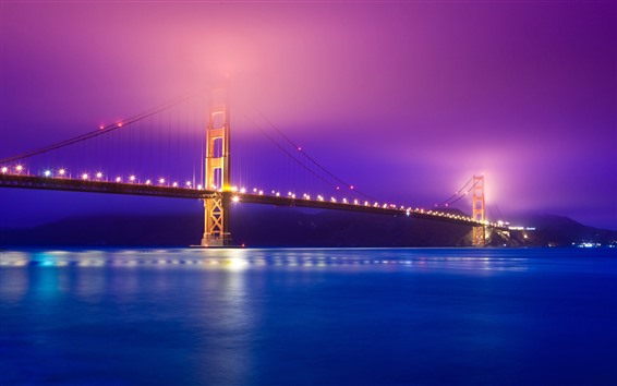 Wallpaper Golden Gate Bridge, river, lights, night, hazy, USA