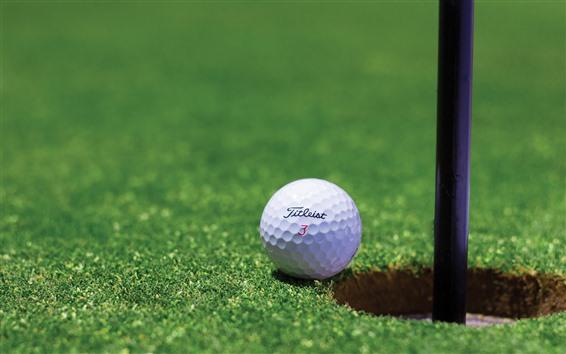Wallpaper Golf, white ball, meadow, hole