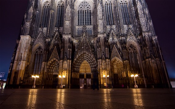 Wallpaper Gothic architecture, lights, night