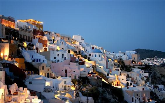 Wallpaper Greece, houses, city, night, lights