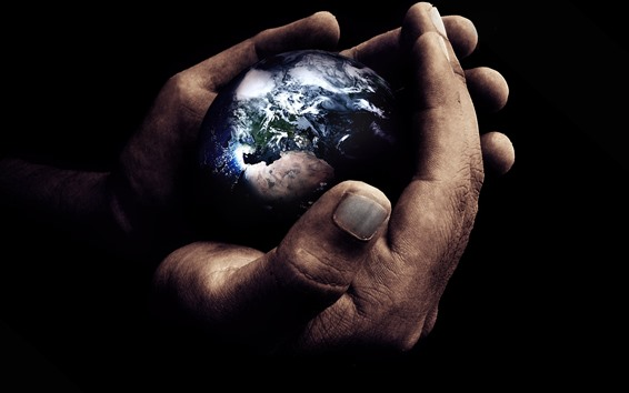 Wallpaper Hands, Earth, creative picture