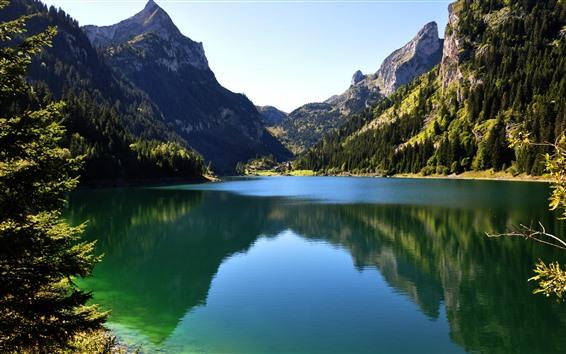 Fond d'écran Lac, surface d'eau calme, reflet, montagnes