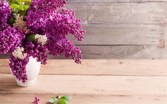 Wallpaper Lilac, purple flowers, vase, table
