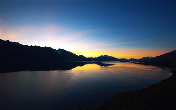 Wallpaper New Zealand, river, sunset, mountains