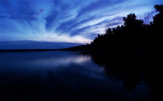 Wallpaper Night, lake, trees, calm, silhouette