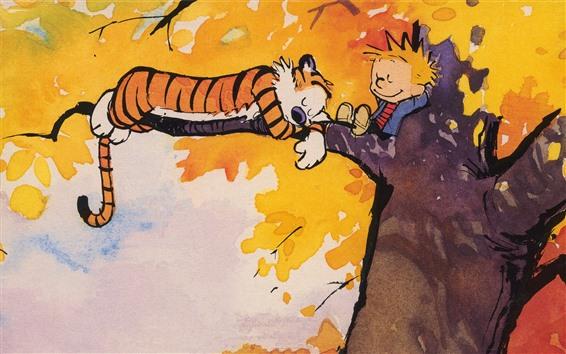 壁紙 絵画、虎と少年は木で眠る