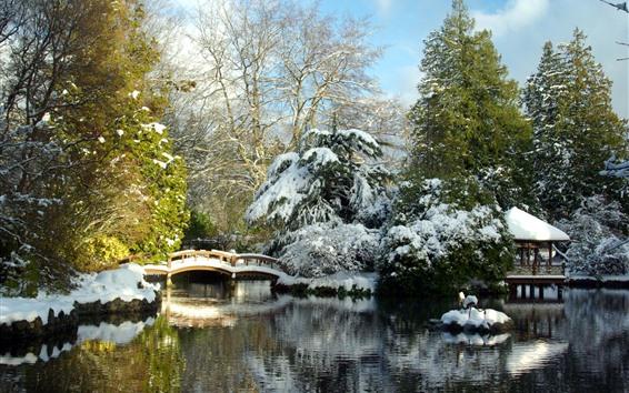 Wallpaper Park, snow, bridge, hut, lake, trees, winter