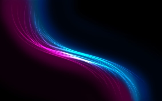 Wallpaper Purple and blue wavy, abstract, black background