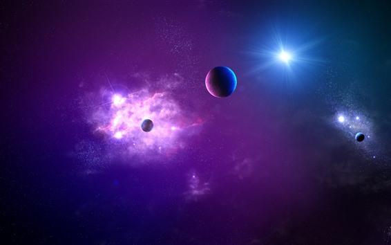 Fond d'écran Espace violet, planètes, étoiles, éblouissement