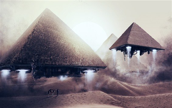 Wallpaper Pyramids flight, alien, UFO, creative picture