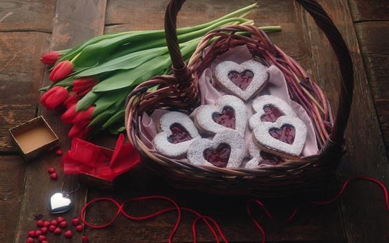 壁紙 赤いチューリップ、愛の心のクッキー、バスケット
