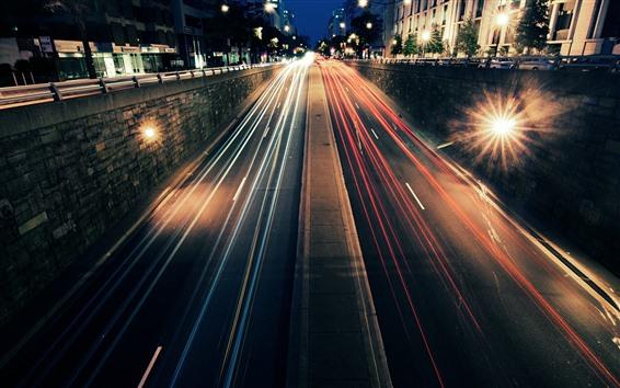 Wallpaper Road, street, light lines, speed, night, city