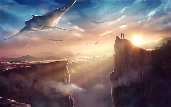 Wallpaper Stingray, flying, sky, mountains, fantasy art picture