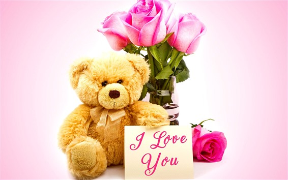 Wallpaper Teddy bear, pink rose, I Love You, romantic