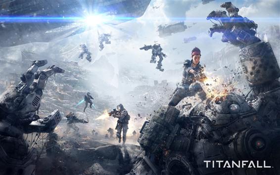 Wallpaper Titanfall, war, girl, robots