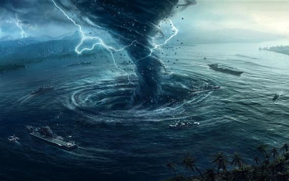 Fondos de pantalla Tornado, tormenta, relámpago, barco, mar, imagen creativa