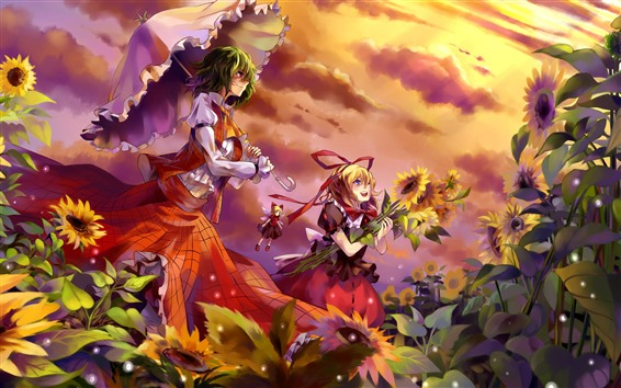 Wallpaper Two anime girls, sunflowers, clouds, summer