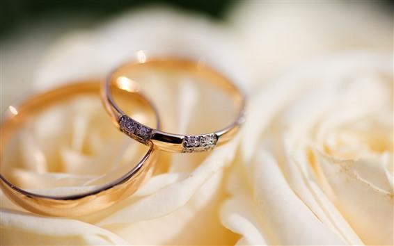 Papéis de Parede Dois anéis, rosa, diamante