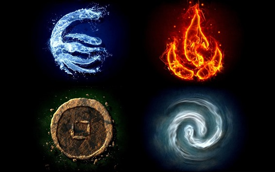 Обои Вода, огонь, земля, ветер, креативная картинка