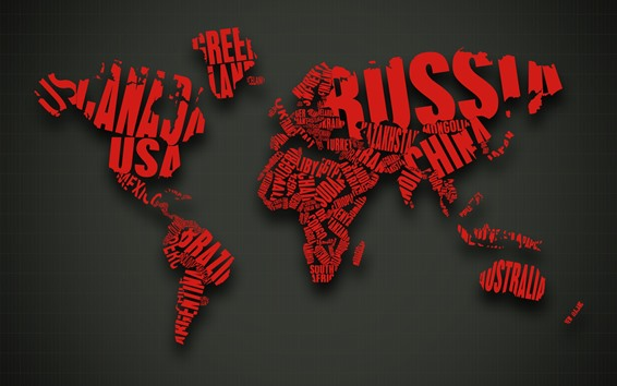 Wallpaper World map, red words, creative design