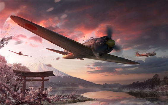 Wallpaper World of Warplanes, Japan, sakura, Fuji mount