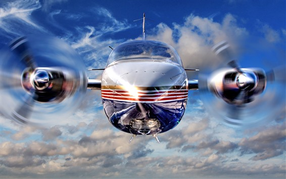 Wallpaper Airplane front view, propeller, speed
