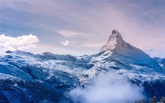 Papéis de Parede Alpes, Suíça, neve, pico