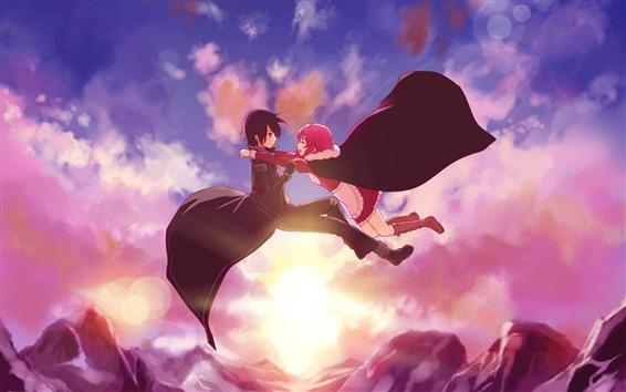 Wallpaper Anime girl and boy, flight in sky, sunset