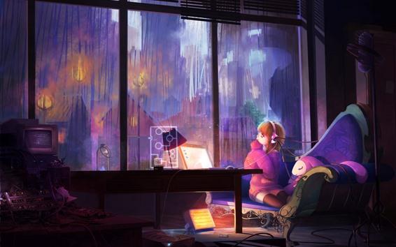 Fond d'écran Anime girl, ordinateur portable, fenêtre, chambre