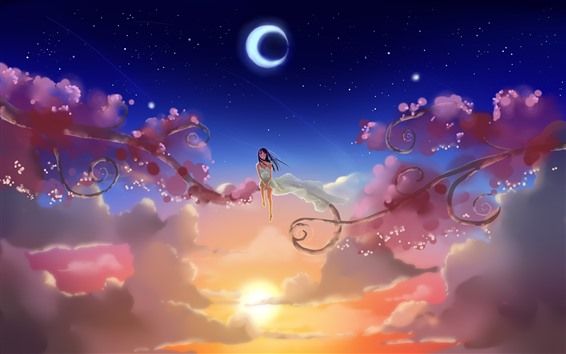 Wallpaper Anime girl, sky, moon, sun, clouds, branches