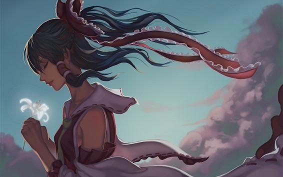 Wallpaper Anime girl, white lily flower, wind