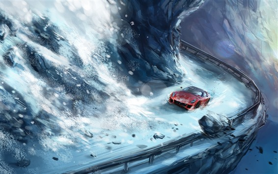 Fond d'écran Peinture d'art, neige, supercar, roches