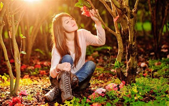 Wallpaper Asian girl, sunshine, red flower