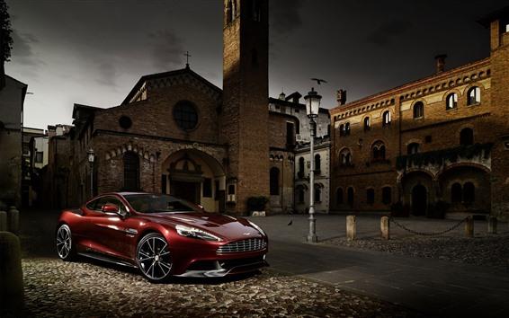 Wallpaper Aston Martin red supercar, town