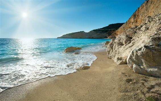 Wallpaper Beach, blue sea, foam, waves, sunshine