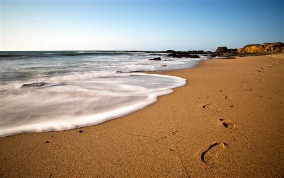 Wallpaper Beach, sea, foam, footprint