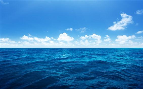 배경 화면 아름다운 푸른 바다, 물, 흰 구름