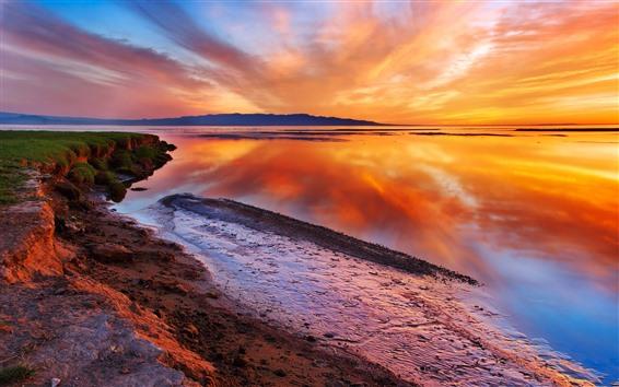 Wallpaper Beautiful dusk, lake, water reflection, orange sky, clouds, sunset
