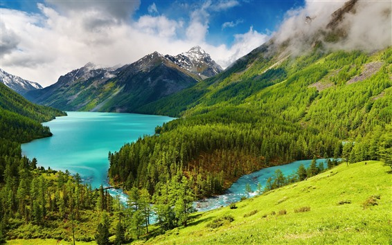 Wallpaper Beautiful nature landscape, trees, green, mountains, lake, clouds
