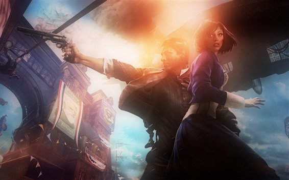 Wallpaper Bioshock Infinite, PC game, girl and man