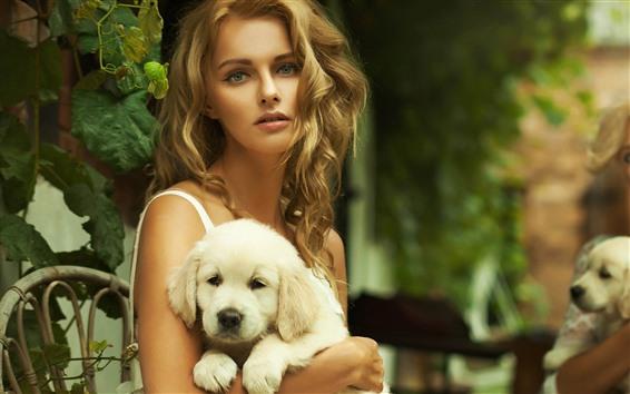 Обои Блондинка и белая собака, стул