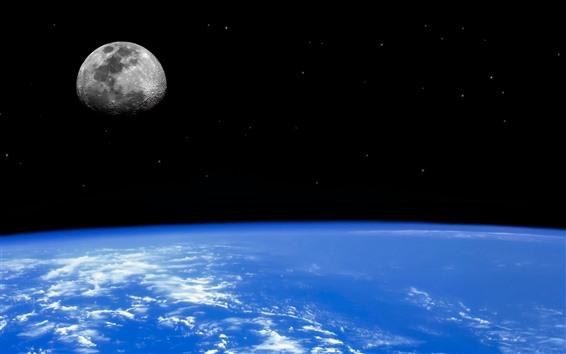 Wallpaper Blue Earth, moon, space
