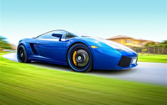 壁紙 ブルーランボルギーニスーパーカー、スピード