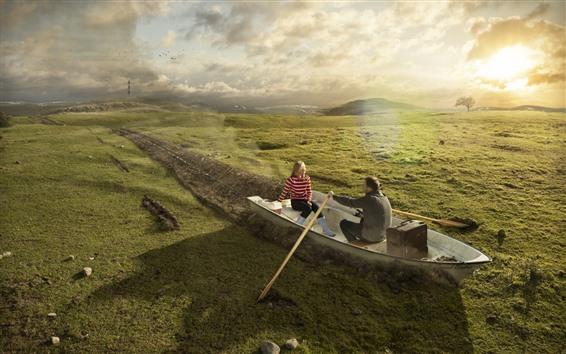 Fond d'écran Bateau, prairie, soleil, image créative